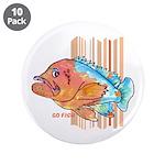 """Cartoon Fish Grouper 3.5"""" Button (10 pack)"""