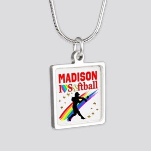 PERSONALIZE SOFTBALL Silver Square Necklace