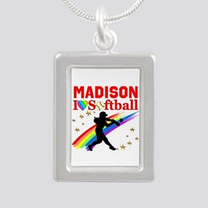 PERSONALIZE SOFTBALL Silver Portrait Necklace