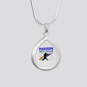 PERSONALIZE SOFTBALL Silver Teardrop Necklace