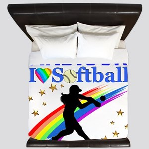 PERSONALIZE SOFTBALL King Duvet
