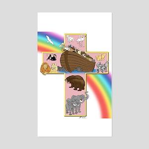 Pink Noah's Cross Rectangle Sticker
