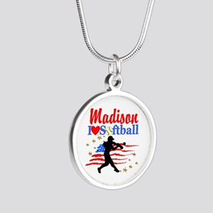 PERSONALIZE SOFTBALL Silver Round Necklace