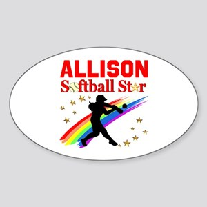 PERSONALIZE SOFTBALL Sticker (Oval)