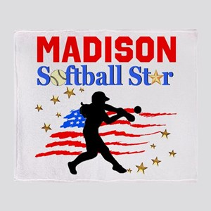 PERSONALIZE SOFTBALL Throw Blanket