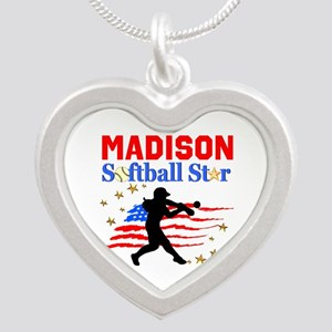PERSONALIZE SOFTBALL Silver Heart Necklace