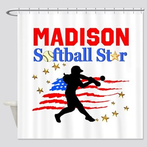 PERSONALIZE SOFTBALL Shower Curtain