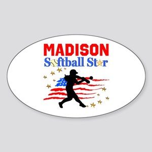 PERSONALIZE SOFTBALL Sticker (Oval)