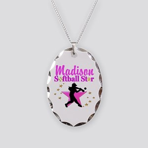 PERSONALIZE SOFTBALL Necklace Oval Charm