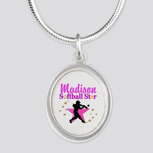 PERSONALIZE SOFTBALL Silver Oval Necklace