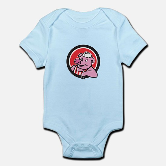 Butcher Pig Leaning Circle Cartoon Body Suit