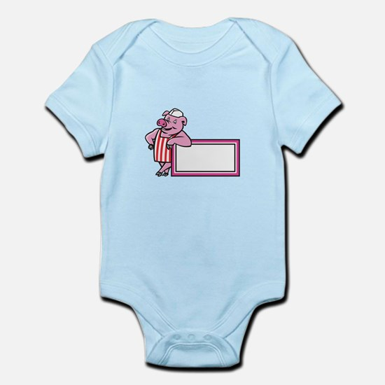 Butcher Pig Leaning On Sign Cartoon Body Suit