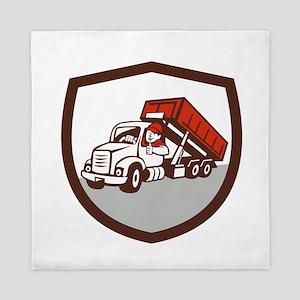 Roll-Off Bin Truck Driver Thumbs Up Shield Cartoon