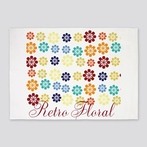 Cute Bright Floral 5'x7'Area Rug