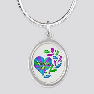 Nurses Care Silver Oval Necklace