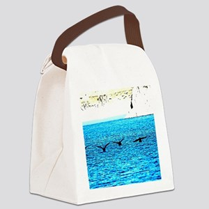 Canadian geese landing on water Canvas Lunch Bag