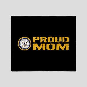 U.S. Navy: Proud Mom (Black) Throw Blanket