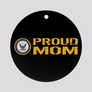 U.S. Navy: Proud Mom (Black) Round Ornament