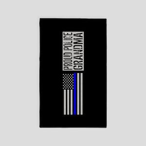 Police: Proud Grandma (Black Flag Blue Li Area Rug