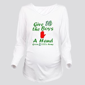 Green and White Army Long Sleeve Maternity T-Shirt