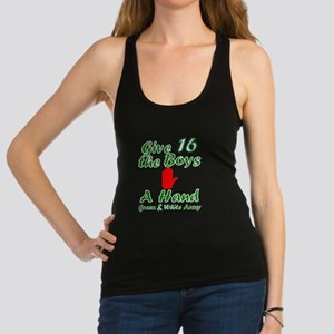 Green and White Army 16 Racerback Tank Top