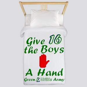 Green and White Army 16 Twin Duvet