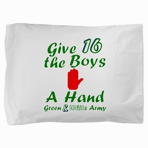 Green and White Army 16 Pillow Sham