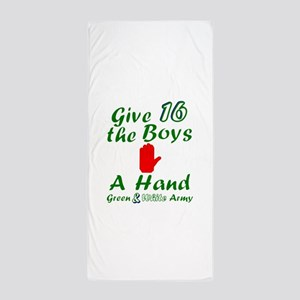 Green and White Army 16 Beach Towel