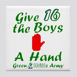 Green and White Army 16 Tile Coaster