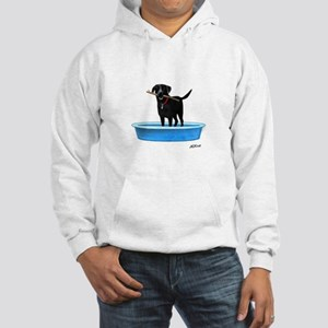 Black Labrador Retriever in kiddie pool Hoodie Swe