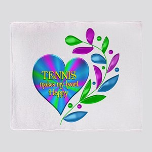 Tennis Happy Heart Throw Blanket