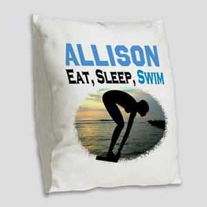 PERSONALIZE SWIMMER Burlap Throw Pillow