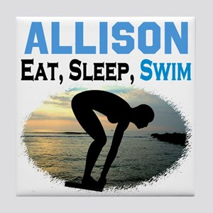 PERSONALIZE SWIMMER Tile Coaster
