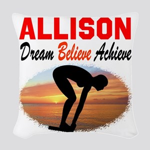 PERSONALIZE SWIMMER Woven Throw Pillow