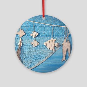 Summer Fishing Round Ornament