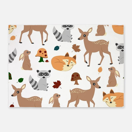 Woodland Creatures 5'x7'Area Rug