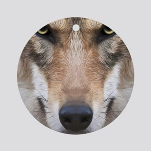Realistic Wolf Painting Round Ornament