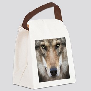 Realistic Wolf Painting Canvas Lunch Bag