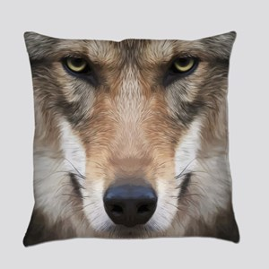 Realistic Wolf Painting Everyday Pillow
