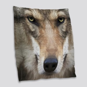Realistic Wolf Painting Burlap Throw Pillow