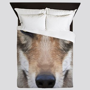 Realistic Wolf Painting Queen Duvet
