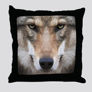 Realistic Wolf Painting Throw Pillow