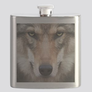 Realistic Wolf Painting Flask