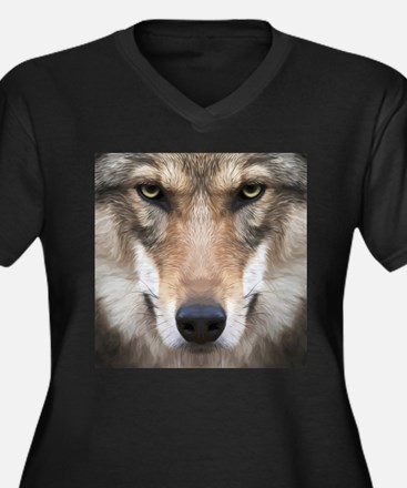 Realistic Wolf Painting Plus Size T-Shirt