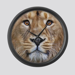 Realistic Lion Painting Large Wall Clock