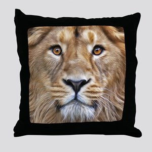 Realistic Lion Painting Throw Pillow