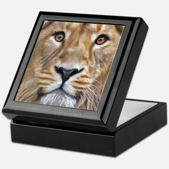 Realistic Lion Painting Keepsake Box