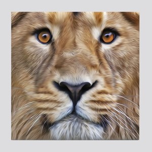 Realistic Lion Painting Tile Coaster