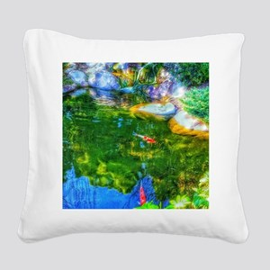 Glowing Reflecting Pond Square Canvas Pillow