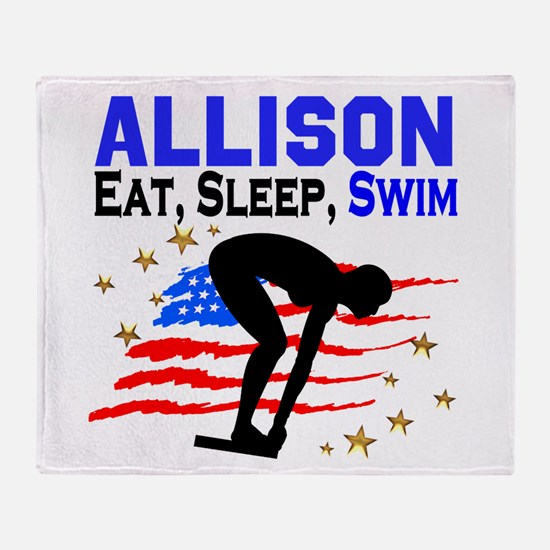PERSONALIZE SWIMMER Throw Blanket